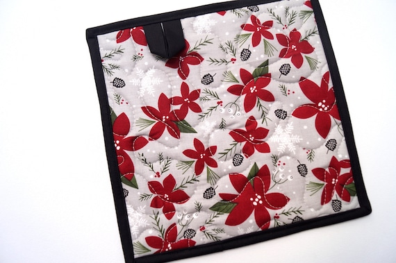 Quilted Pot Holders with Winter Theme Floral Fabric, Choice of One or Two with Hanging Tab Option