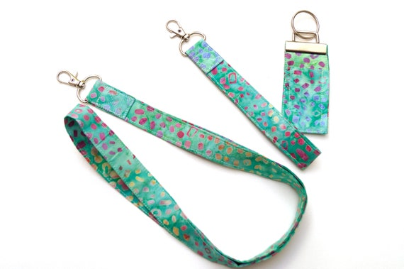 Blue Green Batik Fabric Accessories with Choice of Lanyard, Chap Stick Holder & Wristlet Key Chain, or Set of All Three