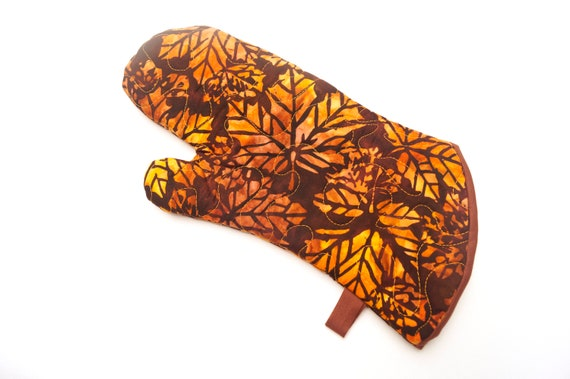 Quilted Batik Fabric Oven Mitt with Vibrant Fall Color Leaf Pattern with Hanging Tab Option