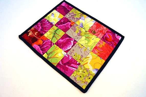 Quilted Patchwork Mini Quilt, Mug Rug or Candle Mat in Colorful Floral Fabric