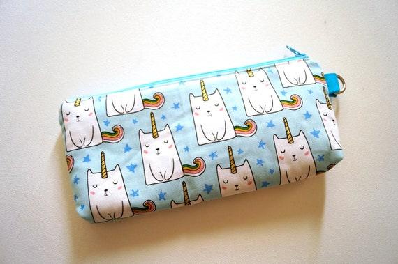 Padded Zipper Pouch with Caticorn Fabric and D Ring Attached, Cat and Unicorn Cloth Wristlet Bag