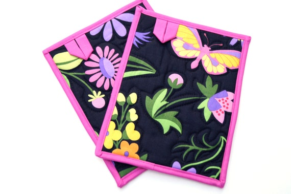 Quilted Pot Holders in Floral and Butterfly Fabric, Colorful Cloth Hot Pads, Set of Two