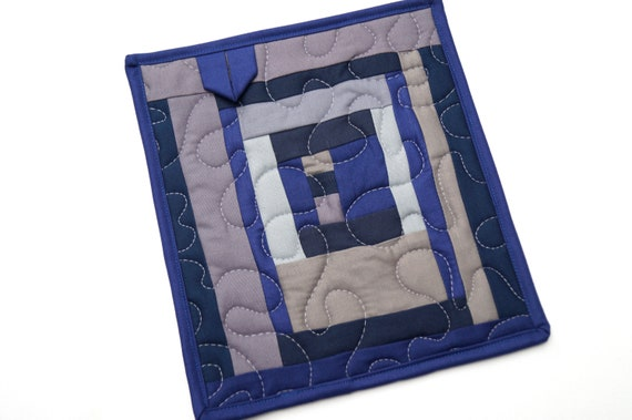 Quilted Fabric Pot Holder in Blue and Grey Patchwork, Modern Hot Pad, Contemporary Kitchen Decor