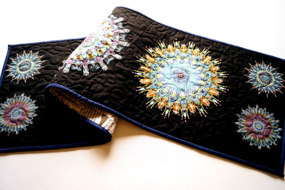 Quilted Table Runner with Colorful Kaleidoscope Medallion Pattern Fabric