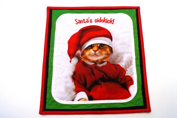 Cat Santa Christmas Wall Hanging with the quote Santa's Sidekick!, Holiday Pet Mini Quilt