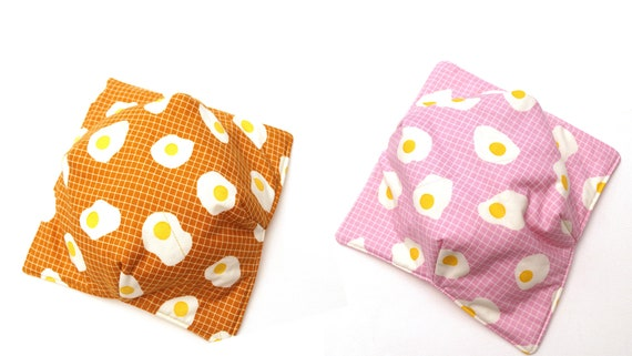 Egg Fabric Microwave Bowl Cozy in Pink or Yellow, Soup or Ice Cream Bowl Holders