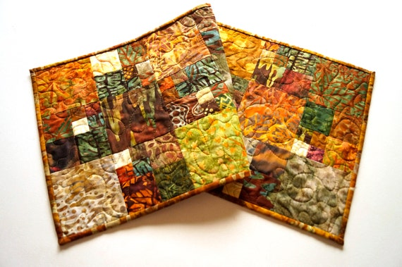 Batik Earth Tones Fabric Patchwork Quilted Table Runner or Wall Hanging