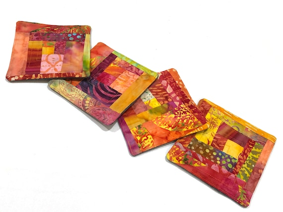 Batik Quilted Fabric Coasters in Tropical Patterns, Warm Color Hand Dyed Cloth Drink Ware