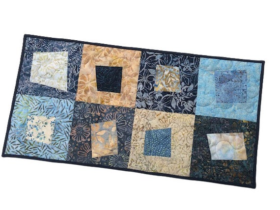 Quilted Table Runner with Hand Dyed Batik Fabric, Shades of Blue Patchwork Wall Hanging