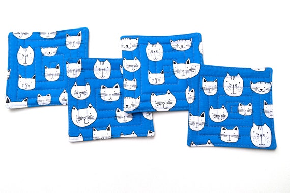 Quilted Cat Fabric Coasters in Blue, Cloth Kitten Drink Ware, Set of Four