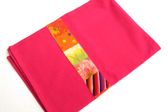 Pink Tea Towel with Colorful Patchwork Fabric Accent Strip, Modern Kitchen Linens