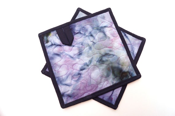 Hand Dyed Quilted Fabric Pot Holders in Shades of Purple and Blue, Set of Two