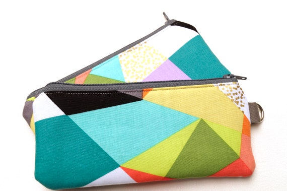 Padded Zipper Pouch, Fabric Glasses Case with Colorful Abstract Pattern and D Ring Option