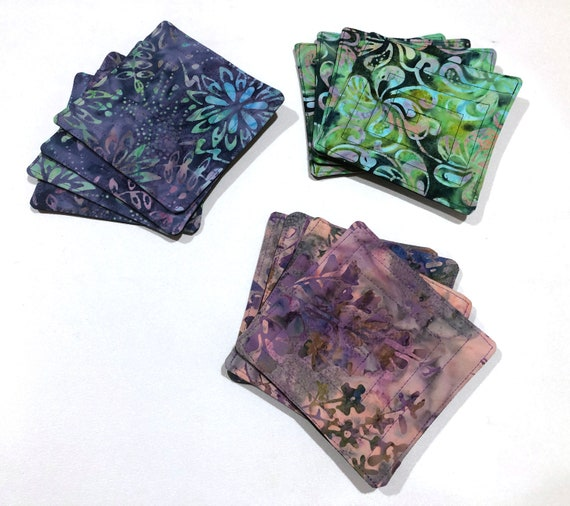 Quilted Cotton Batik Fabric Coasters in Purple, Pink or Green