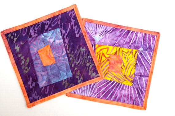 Batik Quilted Patchwork Pot Holders in Purple, Peach and Yellow, Set of Two