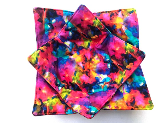 Microwave Bowl Cozy with Rainbow Marbled Digitally Printed Fabric, Large or Regular Size