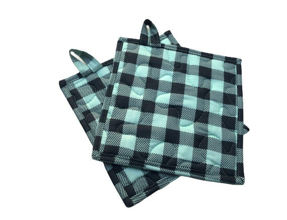 Quilted Fabric Pot Holders with Mint Green Buffalo Plaid, Choice of One or Set of Two with Hanging Tab Option