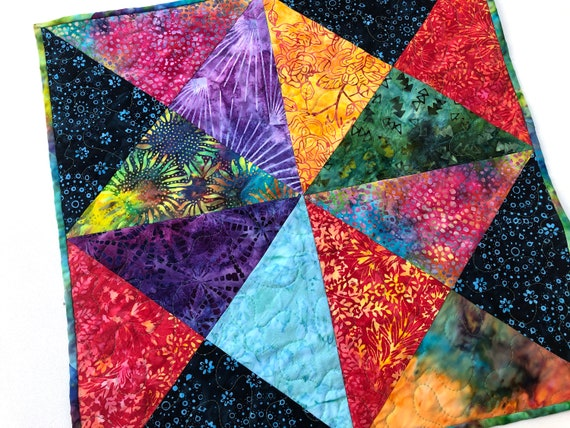 Quilted Wall Hanging or Table Topper with Vibrant Triangle Pattern Patchwork