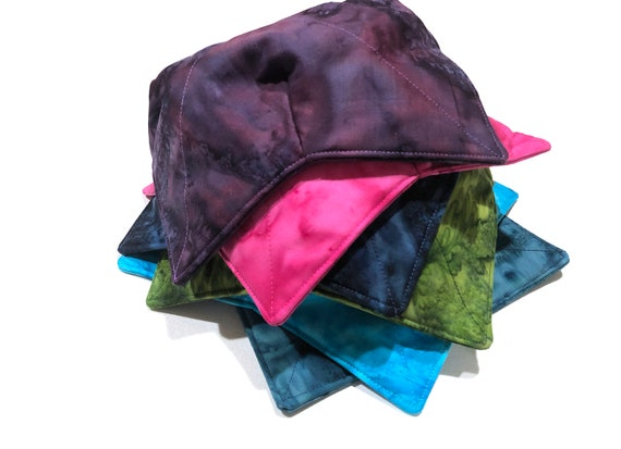 Microwave Bowl Cozy with Hand Dyed Fabrics in Shades of Blue, Purple, Pink or Green, Large or Regular Size