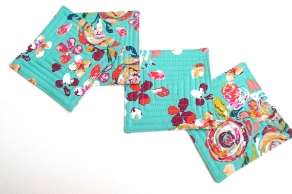 Quilted Coasters Set of Four in Floral Fabric, Colorful Modern Drink Ware