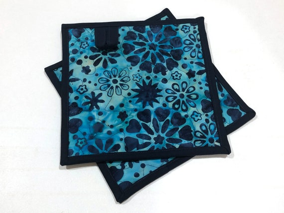 Quilted Batik Fabric Pot Holders with Blue Floral Pattern, Choice of One or Set of Two with Hanging Tab Option