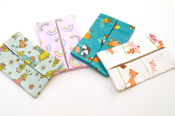 Travel Size Tissue Cover with Novelty Fabric Choice, Pocket Cloth Tissue Holder in Cute Patterns