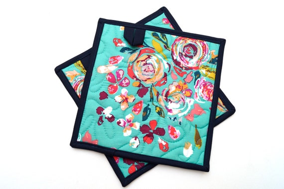 Quilted Floral Fabric Pot Holders, Colorful Cloth Hot Pads, Choice of One or Set of Two with Hanging Tab Option