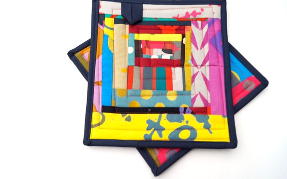 Eclectic Quilted Pot Holders with Colorful Patchwork, Abstract Batik Fabric Hot Pads, Set of Two