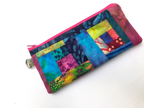 Patchwork Wristlet Pouch with Tropical Batik Fabric Patchwork, Vibrant and Colorful Glasses Case or Padded Cloth Cosmetic Bag