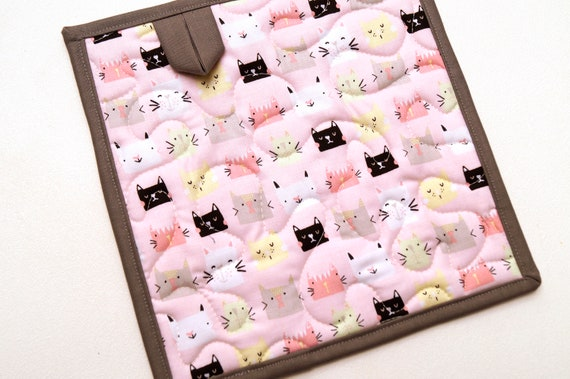 Quilted Pink Cat Fabric Pot Holders, Kitty Face Cloth Hot Pad