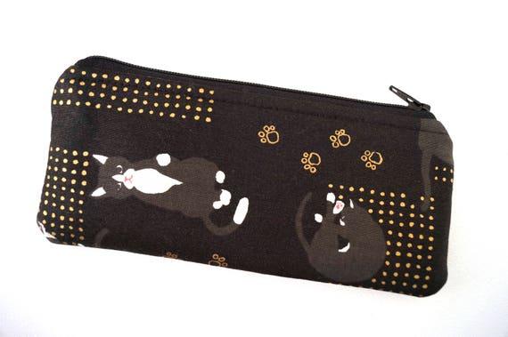Etui à lunettes Zipper en chats noirs et or patte estampes, lunettes de soleil tissu porte en tissu moderne de Kitty