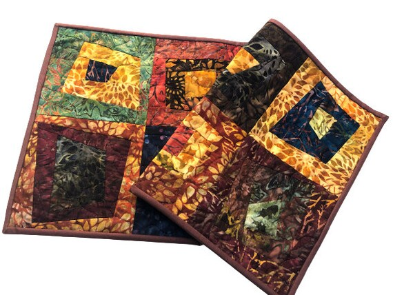 Quilted Table Runner in Vibrant Fall Color Batik Fabrics, Modern Earth Tone Patchwork Table Decor