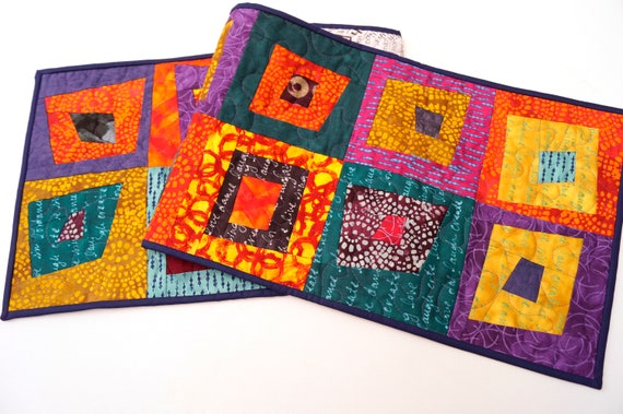 Quilted Patchwork Table Runner or Wall Hanging with Vibrant and Colorful Modern Fabrics