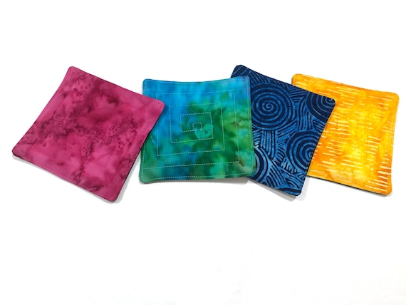 Quilted Batik Fabric Coasters in Vibrant Blue, Green, Pink and Yellow, Set of Four