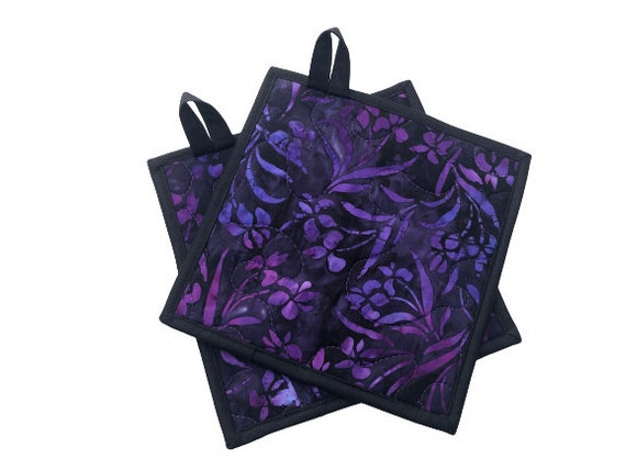 Quilted Batik Fabric Pot Holders with Purple Floral Pattern, Choice of One or Set of Two with Hanging Tab Option