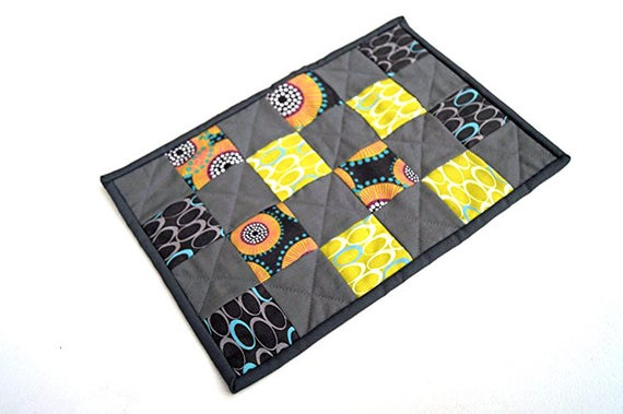 Modern Mini Quilt, Place Mat, Patchwork Mug Rug or Table Topper