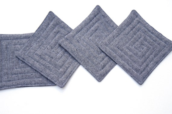 Fabric Coasters in Charcoal Grey Linen Fabric, Set of Four, Minimalist Cloth Drink Ware