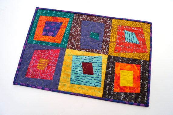 Quilted Patchwork Place Mat, Wall Hanging or Table Topper in Bright and Colorful Batik Fabrics