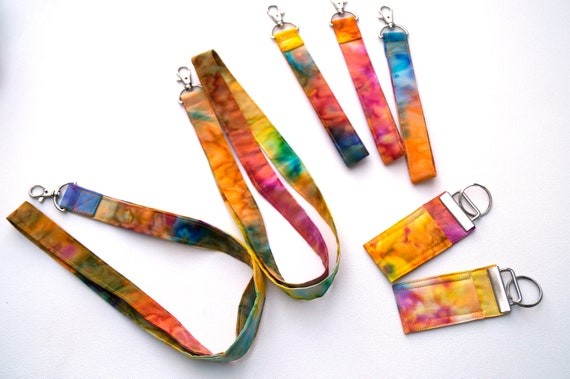 Colorful Batik Fabric Lanyard, Wristlet, Chap Stick Holder Key Chain, Choose One or Set of Three