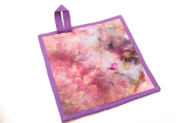 Quilted Hand Dyed Fabric Pot Holder in Pink and Purple