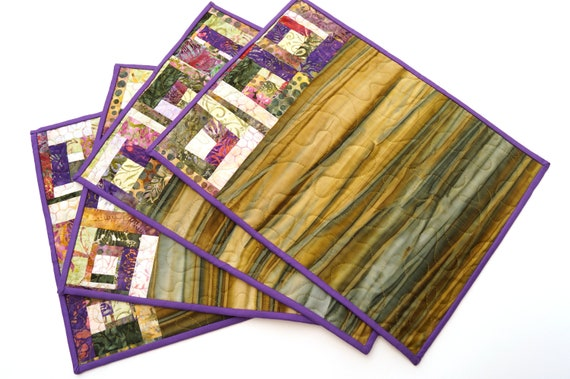 Quilted Patchwork Place Mats with Purple and Green Batik Fabrics, Set of Four