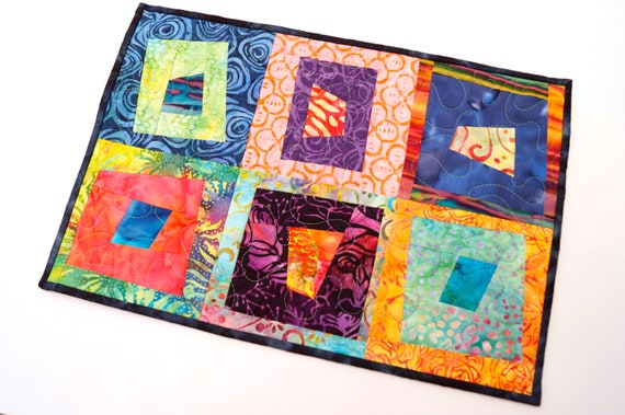 Batik Fabric Mini Quilt, Table Topper or Wall Hanging with Vibrant, Tropical Patchwork