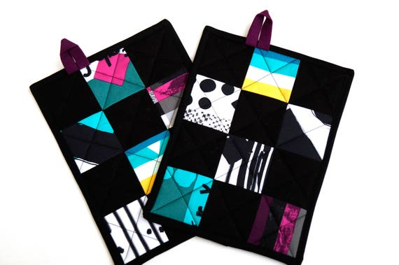 Modern Patchwork Quilted Pot Holders in Black and Multicolored Fabrics, Set of Two