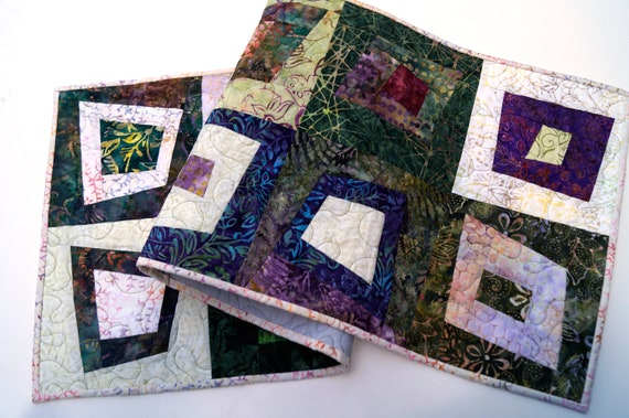 Patchwork Quilted Table Runner in Colorful, Tropical Batik Fabrics