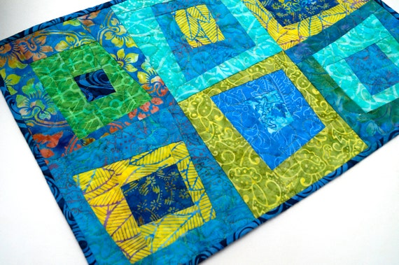 Quilted Patchwork Table Runner with Blue and Green Tropical Batik Fabrics