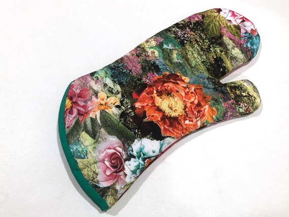 Quilted Oven Mitt in with Colorful Floral Fabric, with Hanging Tab Option