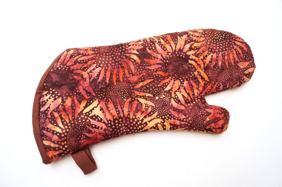 Quilted Oven Mitt with Sunflower Batik Fabric,  Rich Fall Color Cloth Kitchen Linen