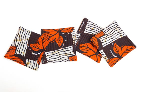 African Print Fabric Coasters in Orange and Blue Pattern Set of Four
