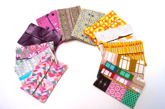 Travel Size Tissue Holder with your choice of Eclectic Pattern, Cloth Pocket Size Tissue Covers