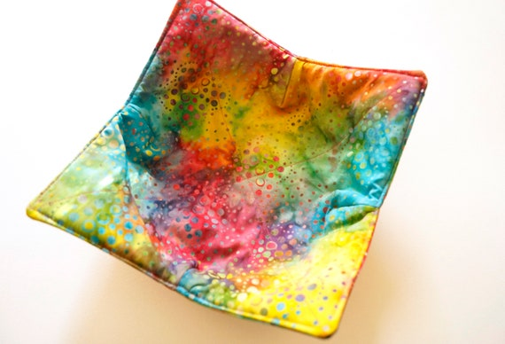 Large Microwave Bowl Cozy with Hand Dyed Batik Fabric with Colorful Dot Pattern